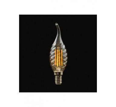 Ampoule a filament 4W Flamme torsadée Culot E14 Blanc chaud Verre Ambré